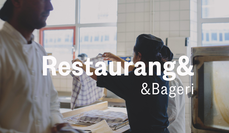 restaurangkök med text